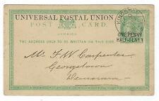 1881 JAMAICA UPU POSTAL STATIONERY CARD Kingston to Georgetown British Guiana