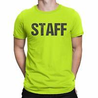 Neon Staff T-Shirt Front & Back Print Mens Event Shirt Yellow Tee (Medium)