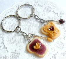 Peanut Butter and Grape Heart Jelly Keychain Set,Knife & Spoon,Best Friend's! :)