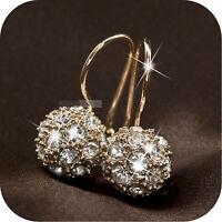 18k rose gold gp made with SWAROVSKI crystal ball stud dangle earrings 9mm