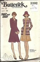 UNCUT Vintage Butterick Sewing Pattern Misses Fast Easy Jacket Dress 3392 12 OOP