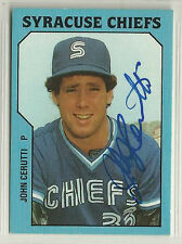 John Cerutti 1985 Syracuse Chiefs TCMA signed autographed card