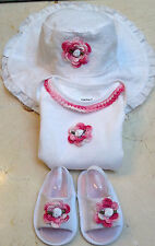 New Set Outfit White Lace Hat Bodysuit Shoes Sandal 6 9 Months Baby Infant Girls