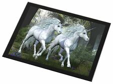 Two White Unicorns Black Rim Glass Placemat Animal Table Gift, UC-1GP