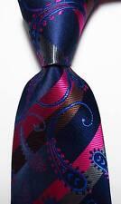 New Paisley Dark Blue Rose Brown Striped JACQUARD WOVEN Silk Men's Tie Necktie