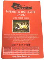 """CHALKSTREAM"" Tapered Nylon fly fishing leader WITH 10 TIPPET RINGS 7 sizes 9'"