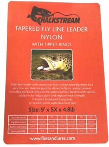 """""""CHALKSTREAM"""" 9'12' or'15 Tapered Nylon fly fishing leader WITH 10 TIPPET RINGS"""