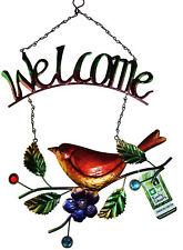Welcome Pretty Garden Metallic Bird Tin Hanging Sign Plaque