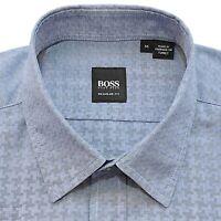 HUGO BOSS Mens Medium Blue Lucas Regular Fit Sport Shirt Long Sleeve M