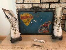 Old School vtg WWII Era Roller Derby Leather Skates with Metal Case Rollerdrome