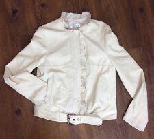 Paul & Joe for Target Women's Large Ruffled Cream Leather Zip Front Moto Jacket