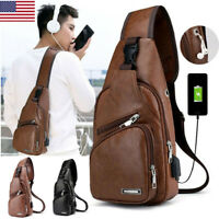 Mens Leather Shoulder Bag Sling Chest Pack USB Charging Crossbody Handbag Sports