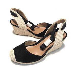 Vionic Aruba Maris Womens Black Suede Wedge Espadrille Sandals Size 6 Wide