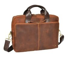 Leather Briefcase Vintage TAN Laptop Office File Case Messenger Shoulder Bag NEW