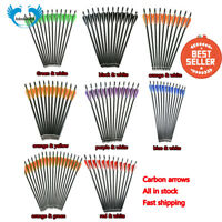 12PC 16/17/18/20/22'' carbon shaft arrows for crossbow archery hunting shooting