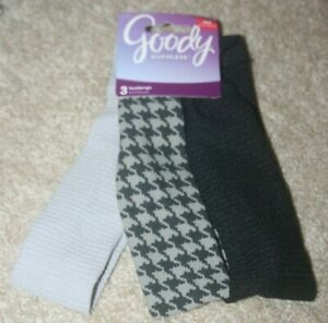 NEW Goody Ouchless Headwraps (Set of 3) Black, Grey, Multi