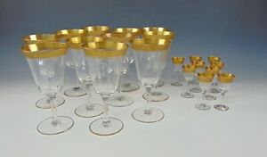 "20pc Lot of Tiffin RAMBLER ROSE Water Goblets & Cordials ""H"" Monogrammed"