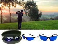 Golf Ball Finder Glasses Blue Lenses Sunglasses Black Frame Zipper Case Gift