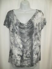 Women's AGB Gray White Top Blouse Cowl Neck Size L Sheer Tie Back