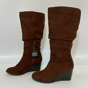 a.n.a Women's Brown Bianca Slouch Boots Wedge Heel Faux Suede Size 6.5 M