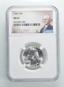 1964 MS65 Washington Quarter Silver NGC Graded - Choice Unc *387