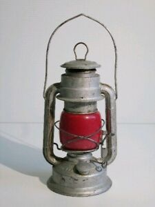 Vintage Lantern For Field IN Metal With Glass Colourful Red Period Xx Century