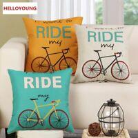 Home Pillowcase Funda de cojín de almohadas lumbares decorativas para bicicletas