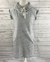 Ann  Taylor Loft Women's Sweatshirt Dress Gray Short  Sleeve Crewneck Size S