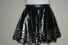 MISS BNWT Black PU Faux Leather SKATER Mini SKIRT uk10 eu36 us6 Waist w27in w69c