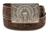 Ariat Western Mens Belt Leather Embossed Chief Skull Buckle Brown A1033402