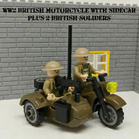 WW2 British motorcycle with sidecar + 2 UK Soliders + Guns fit lego minifigure