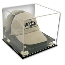 BCW Deluxe Acrylic Baseball Cap / Hat Display w/ Mirror and Golden Risers 3D