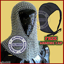 Aluminium Chain Mail Hood V-Neck chainmail coif w/ Free Padded Cotton Arming Cap