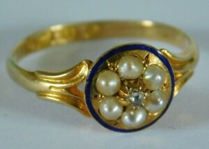 ANTIQUE 18ct GOLD DIAMOND & PEARL  RING - WITH  BLUE ENAMEL