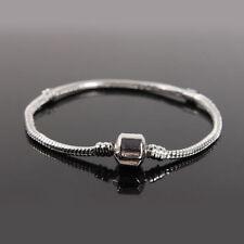 Fashion Silver plated Snake Chain Charm Bracelet Bangle Fit european