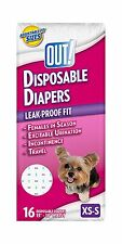 """OUT! 16 pcs DISPOSABLE DOG DIAPERS XS-S Extra Small - Small 13-18"""" WAIST HQ NiB"""
