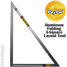 Aluminum Folding A-Square Layout Tool Carpenter Triangle Framing Cabinet Floor