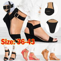 Summer Womens Wedges Mid Heel Sandals Leather Peep Toe Ankle Buckle Casual Shoes