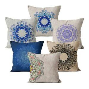 Cushion Cover Car Decor Home Sofa Pillowcase Mandala Pattern Blue Pillow Case