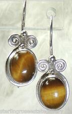 """SAJEN 1 1/8"""" Tiger's Eye Sterling Silver 0.925 Estate Wire Earrings"""