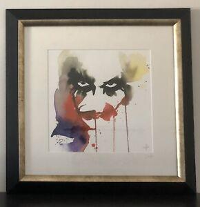 DC Comics Joker (Heath Ledger) framed watercolour print - Clementine Blule