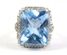 Huge Radiant Blue Topaz & Diamond Cocktail Ring 14k White Gold 20.02Ct