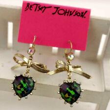Fashion Betsey Johnson Enamel Jewelry  Rhinestone Bow Heart-shaped Earring