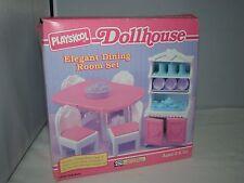 1994 Playskool Dollhouse ELEGANT DINING ROOM SET Table Chairs Hutch Tea Tray NEW
