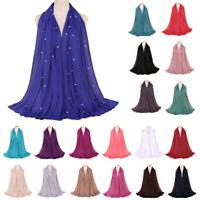 Women Beads Plain Hijab Long Scarf Scarves Muslim Stole Jersey Head Wrap Shawls