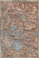 HARDANGERVIDDA. Hardangerjokulen. Topo-map. Norway kart. BAEDEKER 1912 old