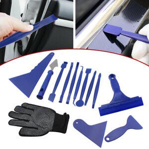13 x Car Window Film Tint Tools Kit Blue Gloves Vinyl Wrap Squeegee Scraper