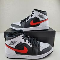Nike Air Jordan 1 Mid Shoes Black White Chile Red 554724-075 Men's