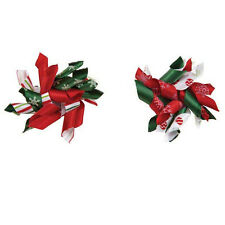 "Dog Grooming Barrette- Aria - Christmas Santas Satin - 2 1/4"" - Set of 4"