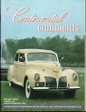 Continental Comments Lincoln Magazine January / Feb. 2001 #238 Excellent 1939